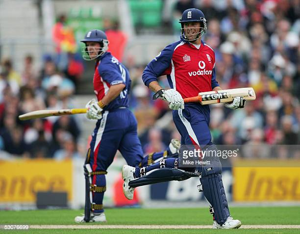 Marcus Trescothick and Andrew Strauss of England run between the wicket during The NatWest Series match between England and Bangladesh at The Brit...