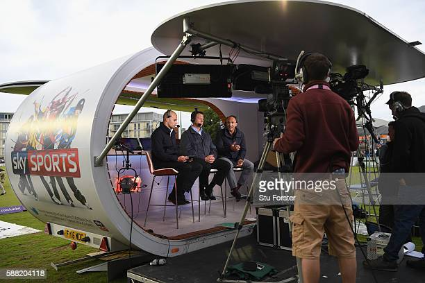 Marcus Trescothick and Mark Butcher in the Sky Hub before the NatWest T20 Blast quarter-final match between Gloucestershire and Durham Jets at...