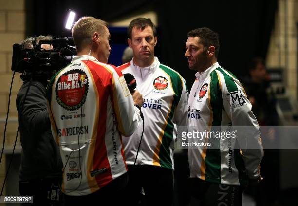 Marcus Trescothick and Tim Bresnan speak to the media during day one of the PCA Big Bike Ride at Edgbaston on October 13 2017 in Birmingham England
