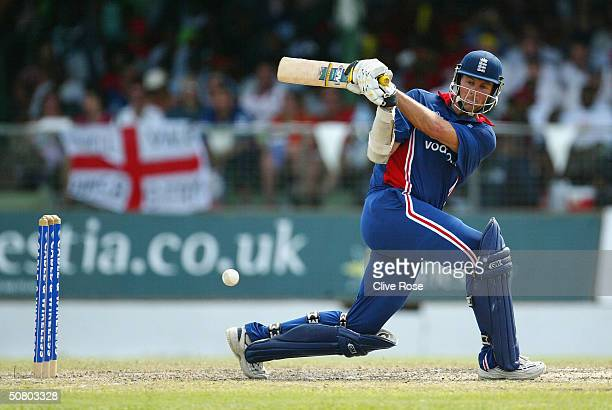 Marcus Trescothick hits out during the 7th One Day International at the Kensington Oval, on May 5 in Bridgetown, Barbados.