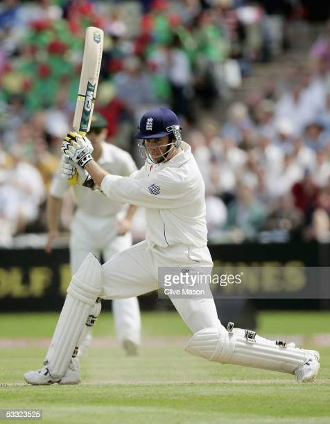 Marcus Trescothick of England in action during day one of the second npower Ashes Test match between England and Australia at Edgbaston on August 4...