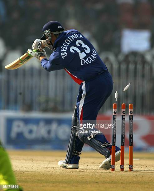 Marcus Trescothick of England is bowled out by Mohammad Asif during the fifth One Day International between Pakistan and England played at The...
