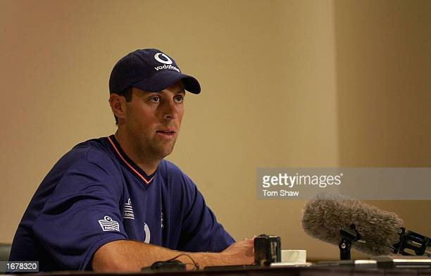 Marcus Trescothick of England talks to the media in a press conference at the Hyatt Hotel in Canberra Australia on December 9 2002