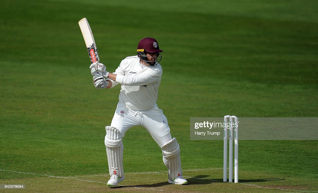 Marcus Trescothick of Somerset bats during Day One of the Friendly match between Somerset and Ireland at The Cooper Associates County Ground on April 6, 2018 in Taunton, England.