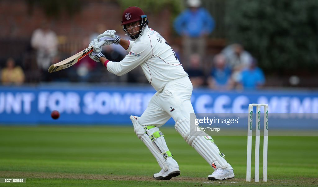 Marcus Trescothick of Somerset bats during the Specsavers County Championship Division One match between Somerset and Surrey at The Cooper Associates County Ground on August 7, 2017 in Taunton, England.