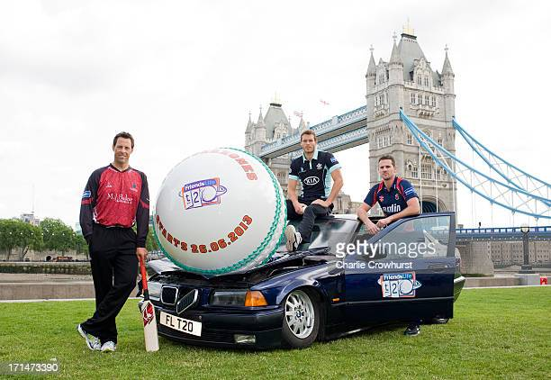 Marcus Trescothick of Somerset Chris Tremlett of Surrey Shaun Tait of Essex launch the 2013 Friends Life Twenty20 ahead of the opening match on...