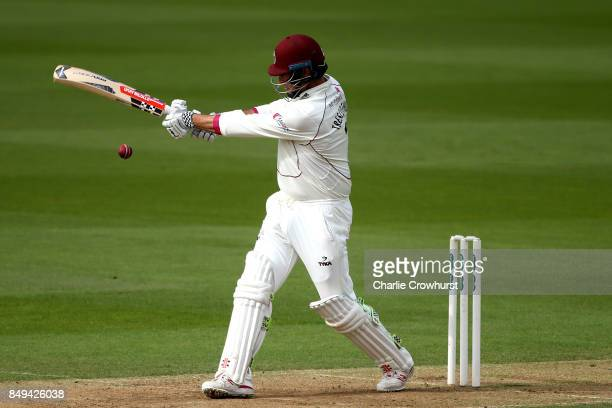 Marcus Trescothick of Somerset hits out during day one of the Specsavers County Championship Division One match between Surrey and Somerset at The...