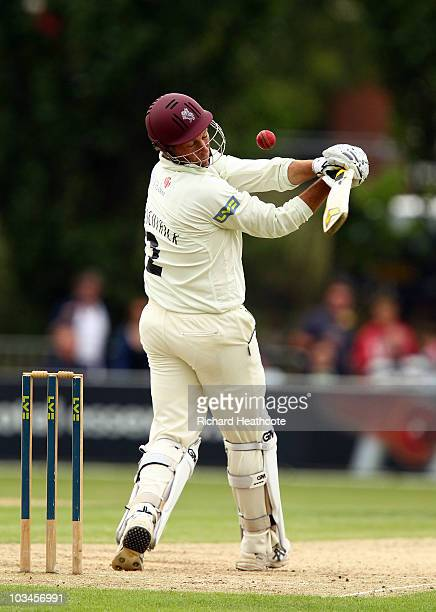 Marcus Trescothick of Somerset is hit in the helmet with a full toss during day two of the LV= County Championship Division 1 match between Essex and...