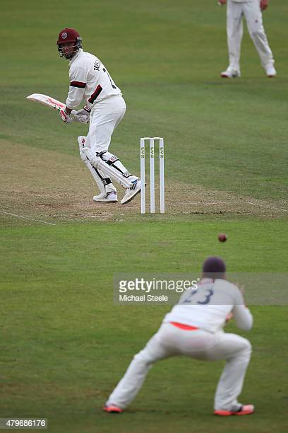Marcus Trescothick of Somerset looks back as Chris Nash claims a catch at second slip off the bowling of Steven Magoffin of Sussex during day two of...