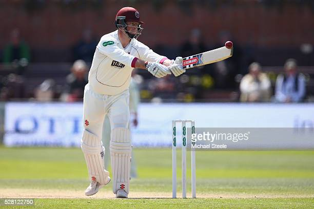 Marcus Trescothick of Somerset prevents the ball dropping onto his stumps during day four of the Specsavers County Championship Division One match...