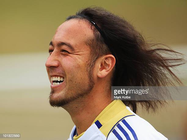 01 Marcus Tulio Tanaka laughs during a Japan training session at SaasFee Stadium on June 1 2010 in SaasFee Switzerland