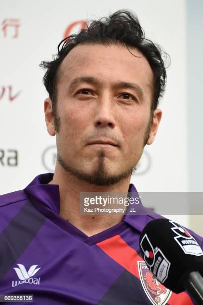 Marcus Tulio Tanaka of Kyoto Sanga is interviewed after the JLeague J2 match between Kyoto Sanga and Ehime FC at Nishikyogoku Stadium on April 15...