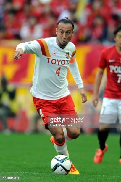 Marcus Tulio Tanaka of Nagoya Grampus in action during the JLeague match between Urawa Red Diamonds and Nagoya Grampus at Saitama Stadium on April 25...