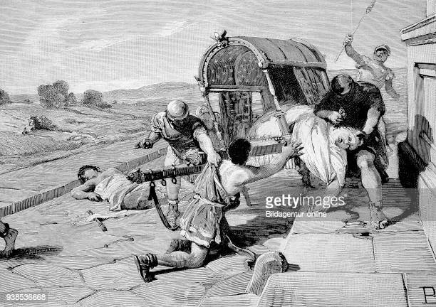 Marcus Tullius Cicero killed by the soldiers of Mark Antony hictorical illustration from 1880