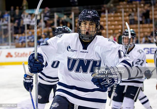 Marcus Vela of the New Hampshire Wildcats celebrates his goal against the Maine Black Bears during NCAA Hockey at the Verizon Wireless Arena on...