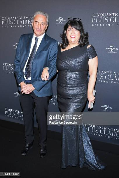 Marcus Viscidi and EL James attend 'Fifty Shades Freed 50 Nuances Plus Claires' Premiere at Salle Pleyel on February 6 2018 in Paris France