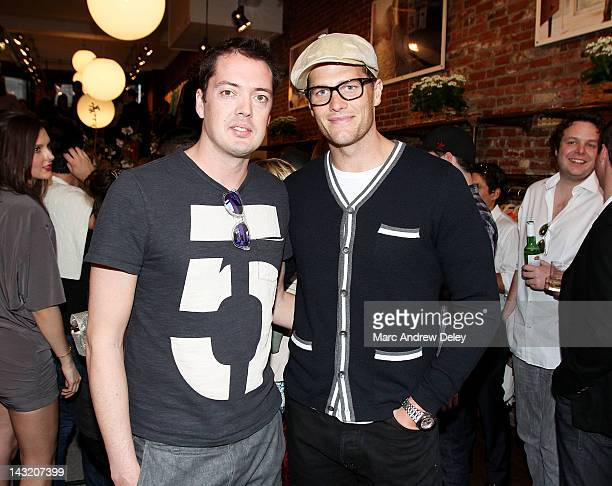 Marcus Wainwright designer and managing partner and Tom Brady attend the Rag Bone Boston boutique opening on Newbury Street on April 20 2012 in...