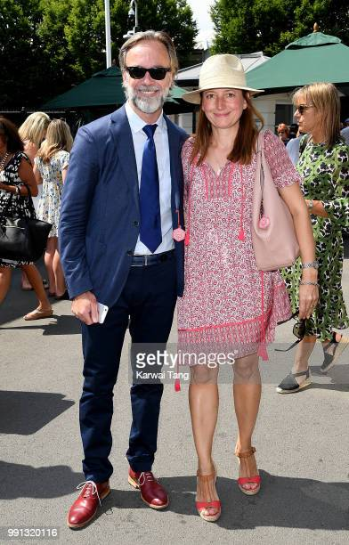 Marcus Wareing and wife Jane attend day three of the Wimbledon Tennis Championships at the All England Lawn Tennis and Croquet Club on July 4 2018 in...