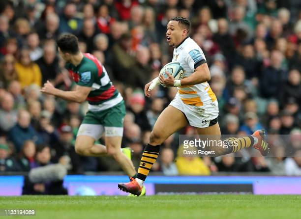 Marcus Watson of Wasps breaks clear to score his second try during the Gallagher Premiership Rugby match between Leicester Tigers and Wasps at...