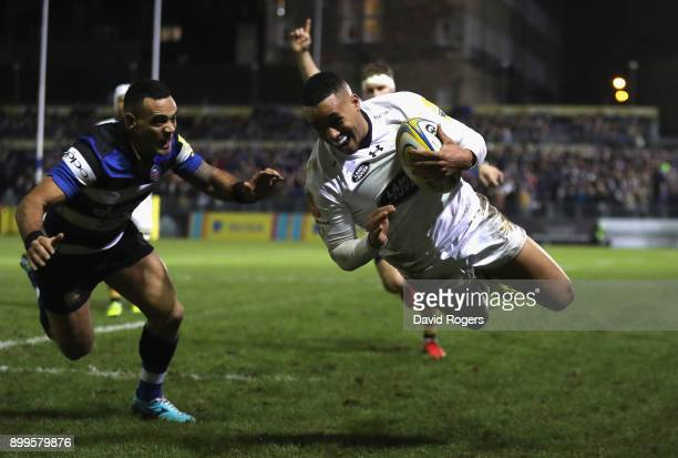 Marcus Watson of Wasps dives to score their third and his second try during the Aviva Premiership match between Bath Rugby and Wasps at the...