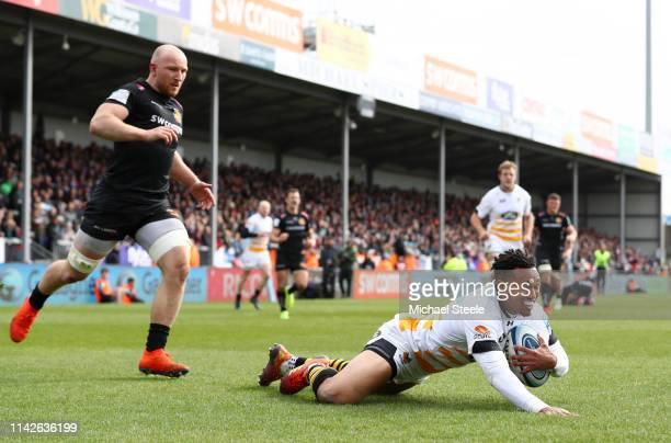 Marcus Watson of Wasps Rugby touches down to score his team's second try during the Gallagher Premiership Rugby match between Exeter Chiefs and Wasps...