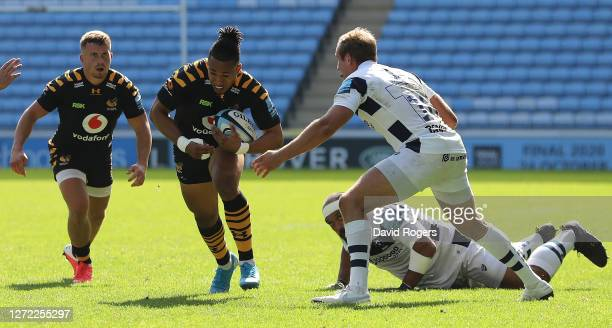 Marcus Watson of Wasps takes on Max Malins during the Gallagher Premiership Rugby match between Wasps and Bristol Bears at the Ricoh Arena on...