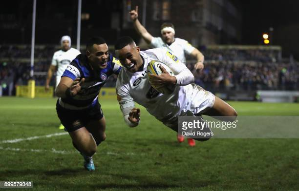 Marcus Watson of Wasps to score their third and his second try during the Aviva Premiership match between Bath Rugby and Wasps at the Recreation...