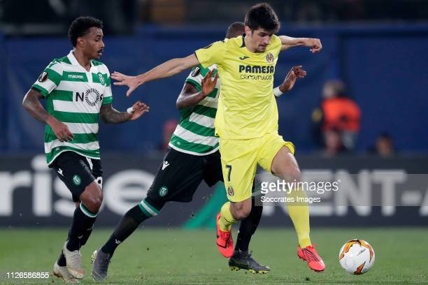 Marcus Wendel Sporting Clube de Portugal Christian Borja Sporting Clube de Portugal Gerard Moreno of Villarreal during the UEFA Europa League match...