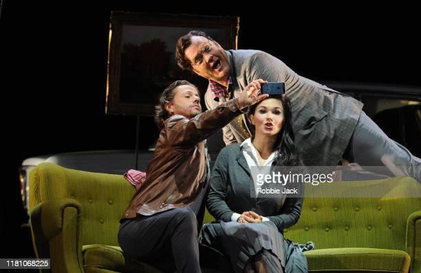 Marcus Werba as Doctor Malatesta, Bryn Terfel as Don Pasquale and Olga Peretyatko as Norina in Gaetano Donizetti's Don Pasquale directed by Damiano...