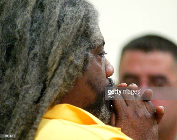 Marcus Wesson listens to Judge Brant Bramer during his arraignment hearing held for the slayings of nine of his family members in Fresno County...