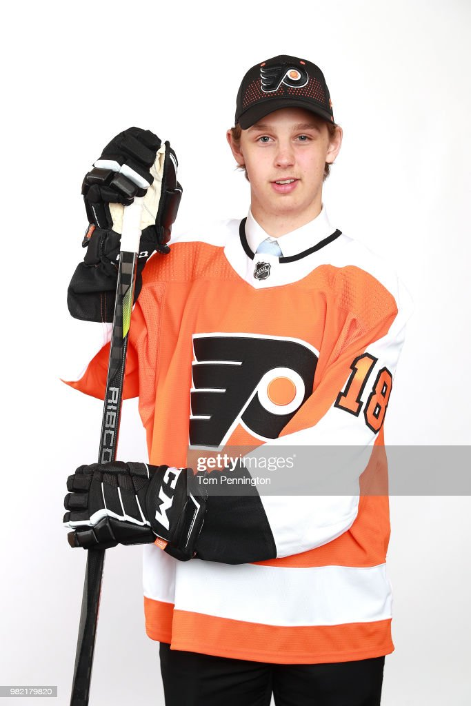 Marcus Westfalt poses after being selected 205th overall by the Philadelphia Flyers during the 2018 NHL Draft at American Airlines Center on June 23, 2018 in Dallas, Texas.