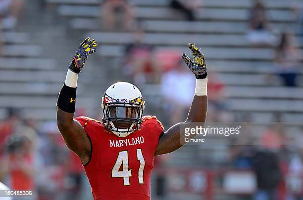 Marcus Whitfield of the Maryland Terrapins motions to the crowd during the game against the Old Dominion Monarchs at Byrd Stadium on September 7 2013...