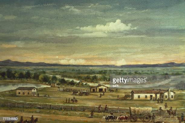 Marcus Whitman Mission on the Oregon Trail near Walla Walla in Washington site of a massacre by the Cayuse tribe whose population had been decimated...