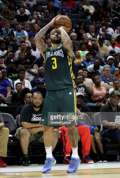 Marcus Williams of Ball Hogs shoots against Enemies during week two of the BIG3 three on three basketball league at Spectrum Center on June 29, 2019...