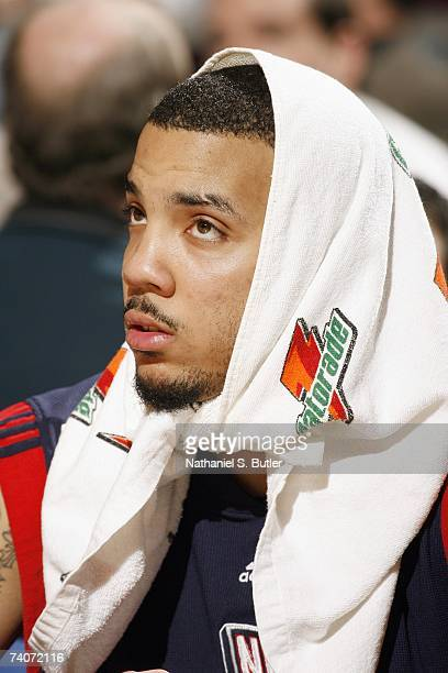 Marcus Williams of the New Jersey Nets looks up during the NBA game against the New York Knicks on April 16 2007 at Madison Square Garden in New York...
