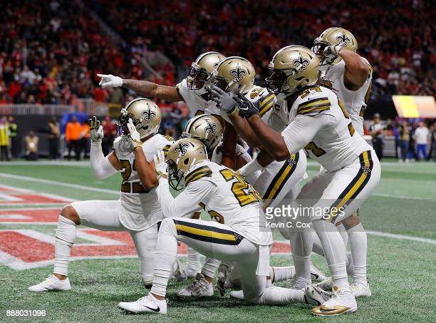 Marcus Williams of the New Orleans Saints and his teammates react after an interception against the Atlanta Falcons at MercedesBenz Stadium on...