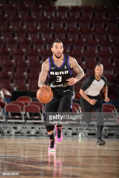 Marcus Williams of the Reno Bighorns dribbles the ball against the Delaware 87ers during NBA GLeague Showcase Game 26 on January 13 2018 at the...