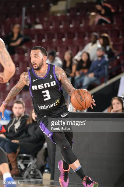 Marcus Williams of the Reno Bighorns looks to pass the ball against the Delaware 87ers during NBA GLeague Showcase Game 26 on January 13 2018 at the...
