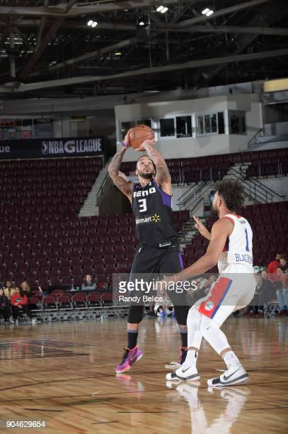Marcus Williams of the Reno Bighorns shoots the ball against the Delaware 87ers during NBA GLeague Showcase Game 26 on January 13 2018 at the Hershey...