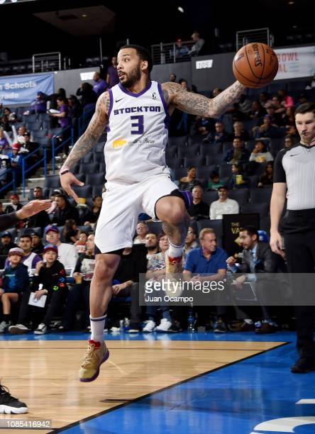 Marcus Williams of the Stockton Kings saves the ball from going out of bounds during the game against the Agua Caliente Clippers of Ontario on...