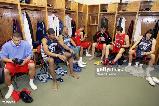 Marcus Williams Rudy Gay Randy Foye Brandon Roy Jorge Garbajosa Andrea Bargnani and Adam Morrison of the Rookie Team get ready to play for the Rookie...