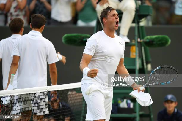 Marcus Willis of Great Britain celebrates after the Gentlemen's Doubles second round match with Jay Clarke of Great Britain against PierreHugues...
