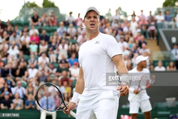 Marcus Willis of Great Britain celebrates during the Gentlemen's Doubles second round match with Jay Clarke of Great Britain against PierreHugues...