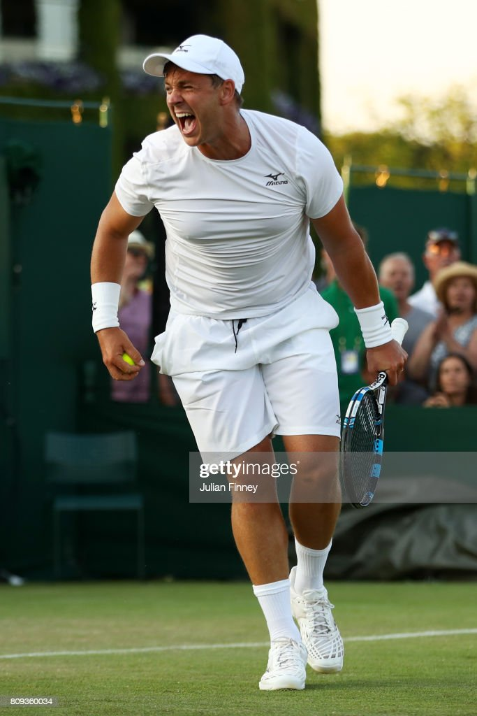 Marcus Willis of Great Britain celebrates victory after the Gentlemen's Doubles first round match against Jared Donaldson of the United States and Jeevan Nedunchezhiyan of India on day three of the Wimbledon Lawn Tennis Championships at the All England Lawn Tennis and Croquet Club on July 5, 2017 in London, England.