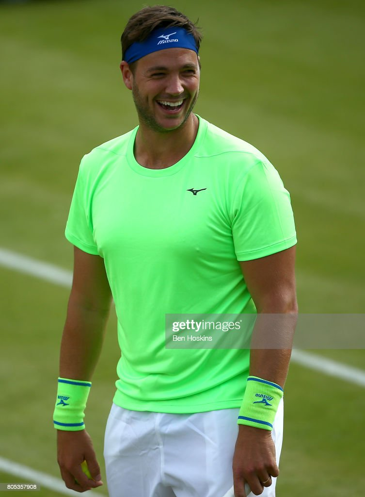 Marcus Willis of Great Britain shares a joke with the crowd during his doubles match against Scott Clayton and Jonny O'Mara of Great Britain on day five of The Boodles Tennis Event at Stoke Park on July 1, 2017 in Stoke Poges, England.