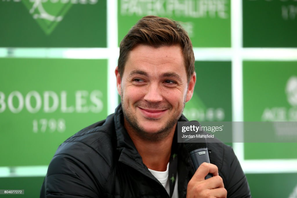 Marcus Willis of Great Britain talks during day four of The Boodles Tennis Event at Stoke Park on June 30, 2017 in Stoke Poges, England.