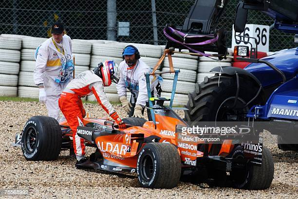 Marcus Winkelhock of Germany and Spyker F1 climbs out of his car during practice for the European Grand Prix at Nurburgring on July 20, 2007 in...