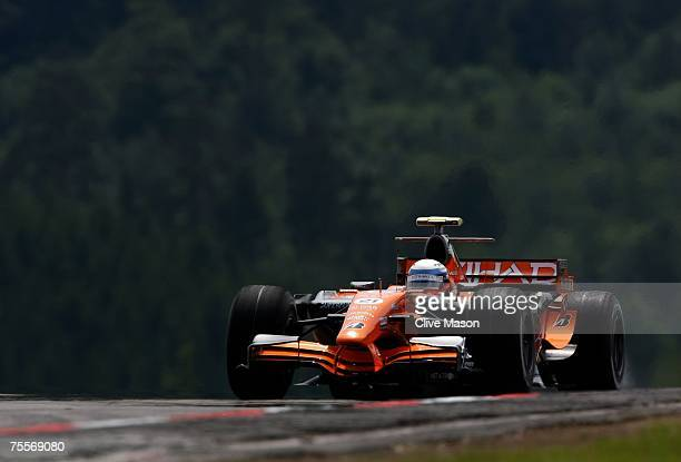 Marcus Winkelhock of Germany and Spyker F1 in action during practice for the European Grand Prix at Nurburgring on July 20 2007 in Nurburg Germany