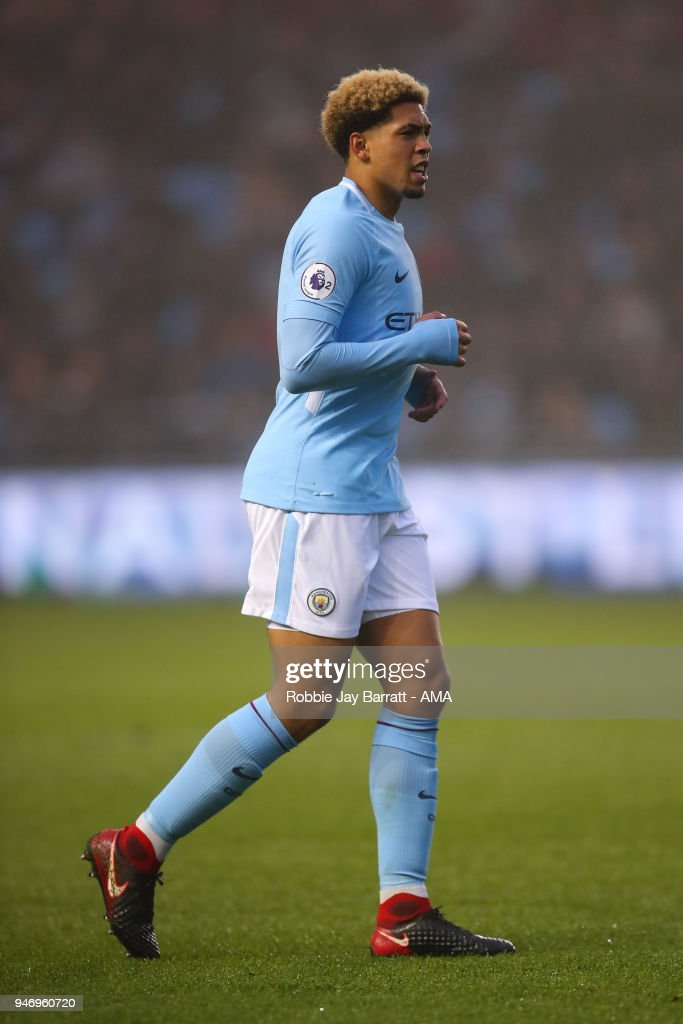 Marcus Wood of Manchester City during the Premier League 2 match at Manchester City Football Academy on April 13, 2018 in Manchester, England.