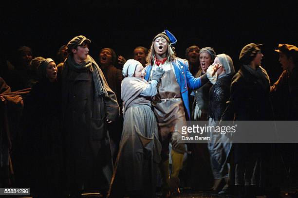 MarcusAlexander Neil and the cast on stage at the 20th Anniversary Celebration of Les Miserables show at the Queens Theatre on October 8 2005 in...